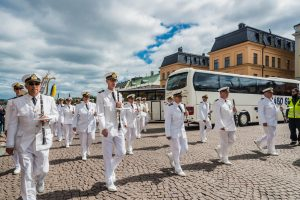 Wachablösung vor dem Königlichen Schloss in Stockholm