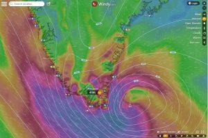 Sturmtief rund um Kap Farvel und Südgrönland