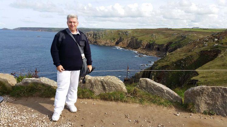 Peter Jurgilewitsch vor Lands End/Cornwall in Grossbritannien