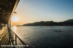 Sonnenaufgang auf MS Europa 2 vor Thassos