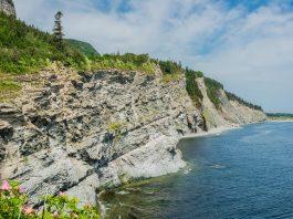 Steilküste der Batterie am Fort Peninsula auf der Halbinsel Gaspé