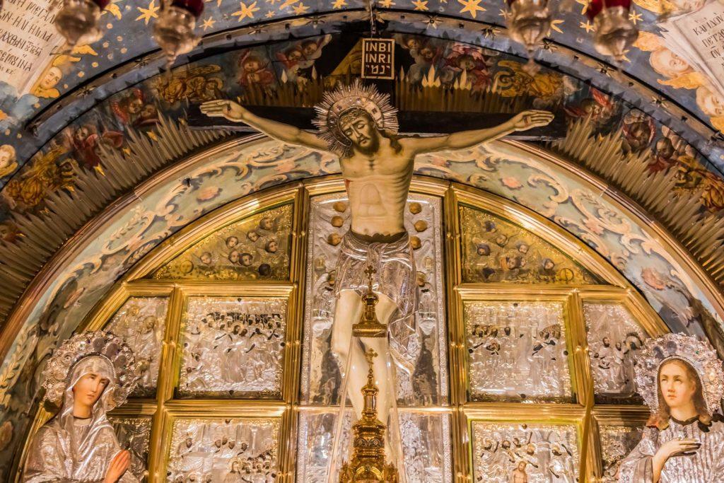 Stelle der Kreuzigung Jesu in der Grabeskirche