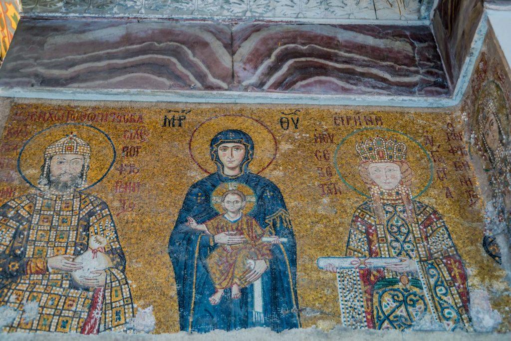 Moasik mit Kaiser Johannes II. Komnenos mit Kaiserin Irene in der Hagia Sophia