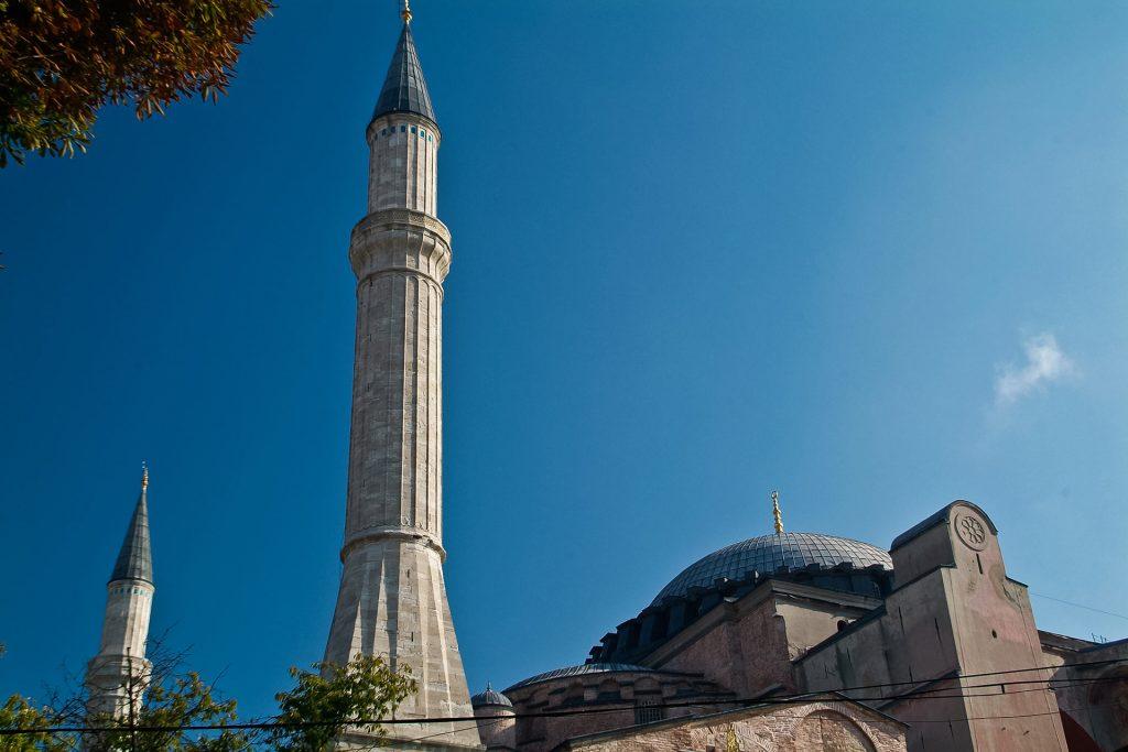 Minarett der Hagia Sophia in Istanbul