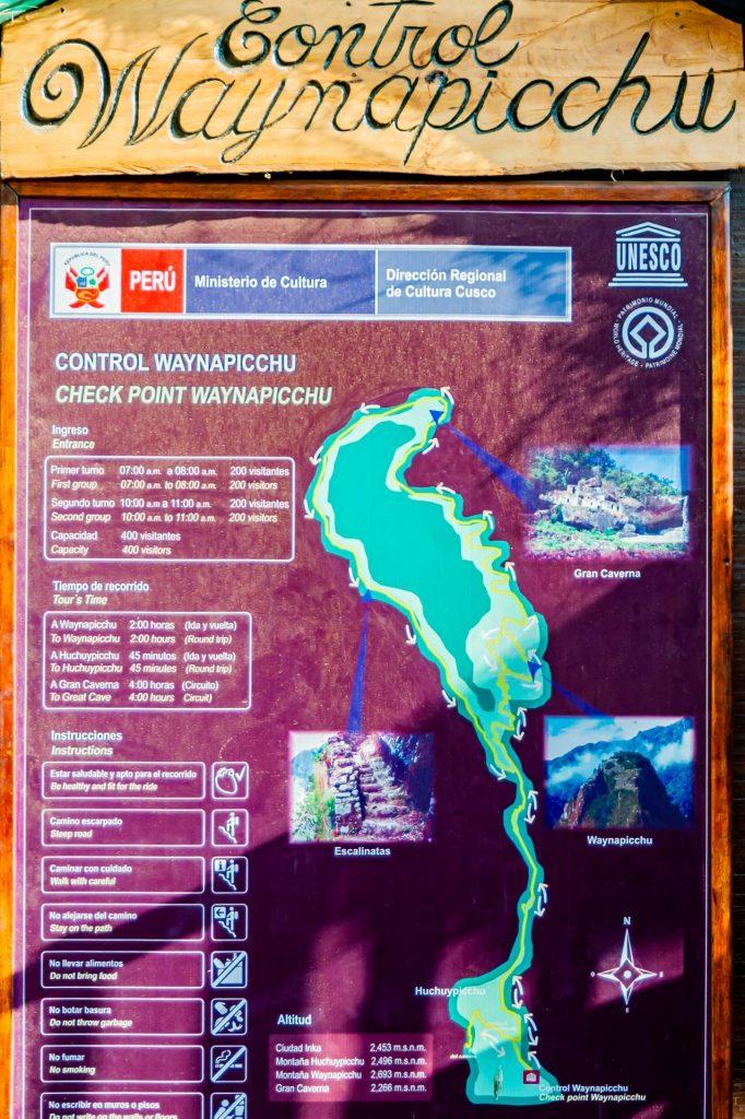 Hinweistafel an der Kontrollstelle des Huayna Picchu