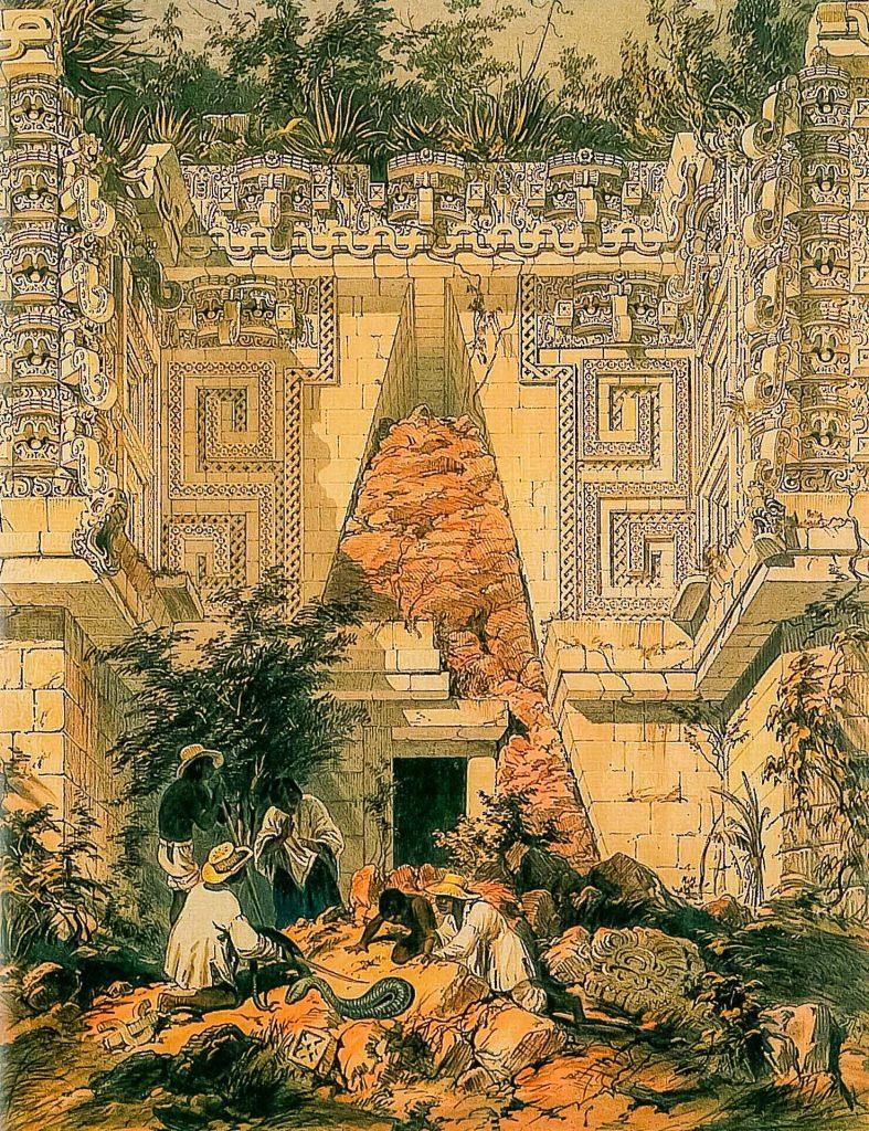 Gouvaneurspalast in Uxmal. Zeichnung von Frederick Catherwood