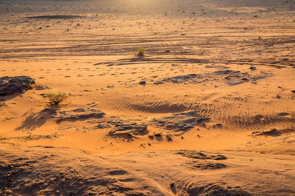 Das Wadi Rum bei Sonnenuntergang