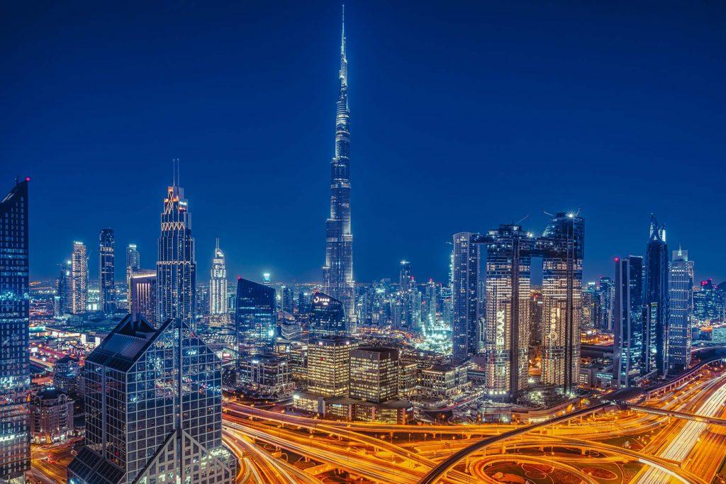 Dubai Downtown bei Nacht