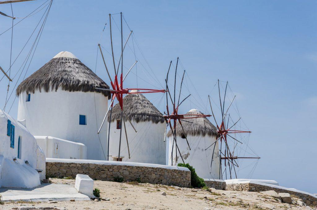Das Ensemble der Windmühlen auf Mykonos