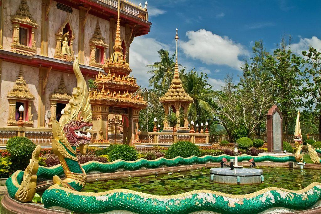 Schlangenbrunnen im Wat Chalong auf Phuket