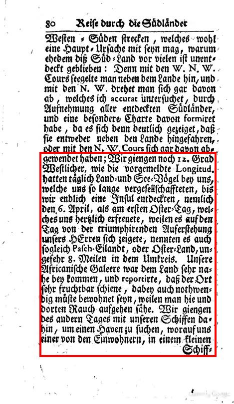 Textseite aus der Reise durch die Südländer von Carl Friedrich Behrens