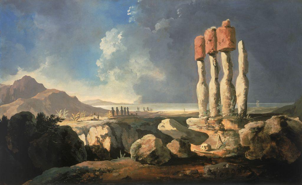 Moais auf der Osterinsel (Gemälde von Hodges)